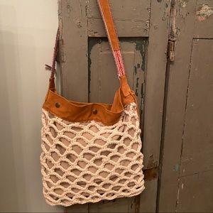 Lucky Brand Boho Macrame Leather shoulder Bag